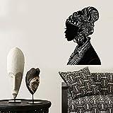 wZUN Calcomanía de Pared de niña Africana Silueta de Mujer Africana Turbante Nativo Pegatina de Vinilo de Moda 85X52cm