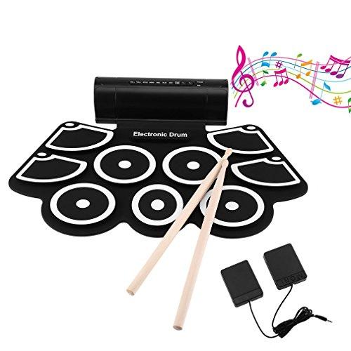 電子ドラムセット、ポータブルドラム、LESHPロールアップドラムプラクティスパッドミニドラムキット、ヘッドフォンジャック内蔵スピーカードラムペダルドラムスティック、グッドホリデー子供のための誕生日プレゼント