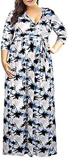 TSEINCE Gonna Abito Vintage Casual Abito Estivo con Stampa Floreale per Donna Elegante Abito da Sera con Scollo a V Abito ...