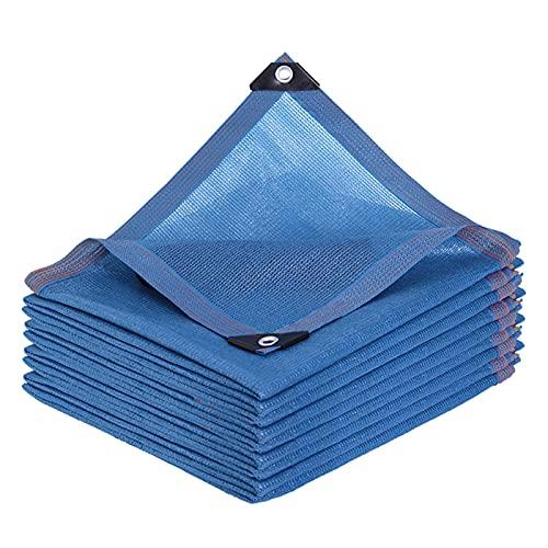 YLSS Tela De Protección Solar para Exteriores Red De Sombra 90% Tasa De Sombreado Encriptada Tela De Sombra Azul Gruesa con Ojales para Plantas De Invernadero De Pérgola De Jardín,2×2m/6.6×6.6ft