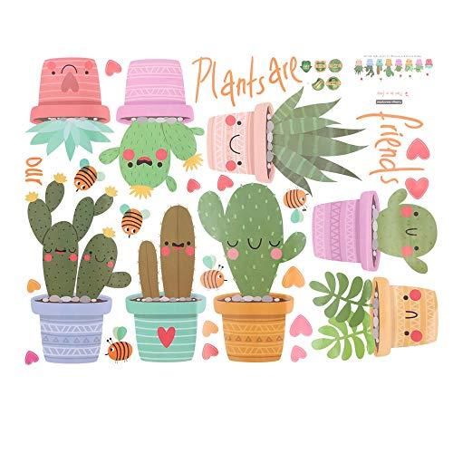Adhesivo decorativo para pared y pared, diseño de maceta con plantas verdes y cactus, para salón, decoración
