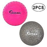 Kosma - Juego de 2 pelotas de hockey para deportes al aire libre (PVC), color rosa y plateado brillante