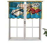 Hiiiman Cortinas con dobladillo para barra, cortinas para ventana de champán, set de 2, 42 x 36 pulgadas para ventana de cocina