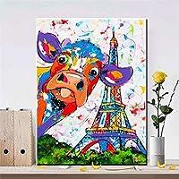 抽象的な色のカウタワーのポスターとプリント都市の風景壁アートキャンバス絵画家のデザインの装飾のための動物の壁の写真/ 60x85cm(フレームなし)
