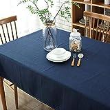 Morbuy Rectangle Mantel de Lino de algodón Antimanchas, Color Puro Mantel...