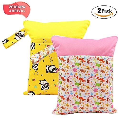 2 Pack Baby humide et chiffon sec Sacs à langer étanche réutilisable avec deux poches à fermeture éclair, 11,8 x 14,6, 2 Pack, panda&reindeer, 2