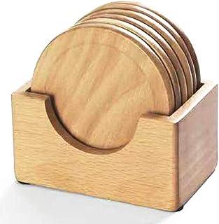 木製コースター おしゃれ コースター木製 丸茶托木製 防水 滑り止め断熱マット 茶パッド コップ敷き6枚セット+収納ケース付き お茶 カフェ 来客用(ケヤキ天然木コースター)
