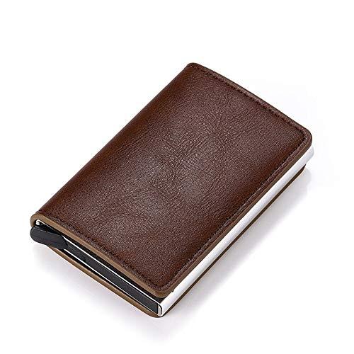 BAYUE Credit Card Holder y Hombres Mujeres Metal RFID Cosecha de Aluminio Caja de Caballo Loco Cuero de la PU Carpeta de la Tarjeta de Moda (Color : K9109 Coffee)