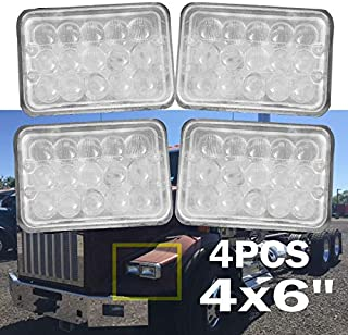 NEW Version 4x6 inch LED Headlights Rectangular 6K for Peterbil Kenworth T800 2000-2010 Replacement H4651 H4652 H4656 H4666 H6545 Warranty 3Yr