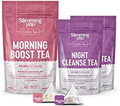 14 Day Detox Tea Kit - Tea Detox Cleanse Weight Loss Tea 1 Morning Boost Tea (14 Bags) 2 Night Cleanse Tea (14 Bags), All Natural Herbal Slim Tea for Detox and Colon Cleanse, Reduce Bloating