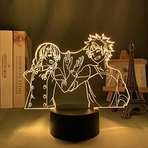 Luz De Noche LED Con luz De Ilusión 3D Food Wars Shokugeki No Soma Decoración de dormitorio infantil Regalo de cumpleaños Habitación de juguete de anime Lámpara de mesita de noche para niño y niña
