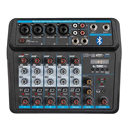 Professional Wireless Audio Mixer Sound Board-6 Channel Digital Bluetooth USB Computer Compatible Input DJ Controller Sound Mixer 48V Phantom Power Microphone in
