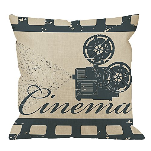 HGOD DESIGNS Cinema Pillow Case,Movie Theater Frame Cinema Slate Cotton Linen Cushion Cover Square Standard Home Decorative for Men/Women/Kids 18x18 inch Blue Beige