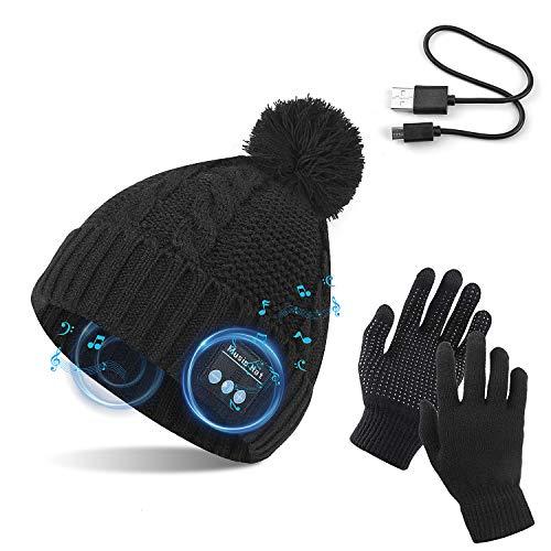 TAGVO Gorro Bluetooth V5.0 con Conjunto de Guantes con Pantalla táctil, Gorro de música inalámbrico de Punto Thicken cálido de Invierno Sombrero de música Altavoz estéreo Incorporado y micrófono