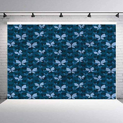 10x10FT Vinyl Photo Backdrops,Dark Blue,Butterfly Silhouettes Background for Graduation Prom Dance Decor Photo Booth Studio Prop Banner