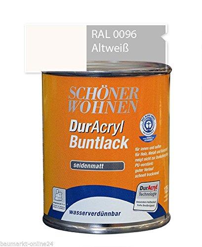 DurAcryl Buntlack Altweiß 125 ml RAL 0096 Seidenmatt Schöner Wohnen