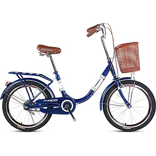QIU Ladies 20'/' 24'Rueda 7 Velocidad 19' Marco Tradicional Bicicleta Bicicleta Azul (Color : Blue, Size : 20')