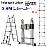 Autofather 3.8M Multi-Purpose Folding Aluminium Telescopic Ladder Extension Extendable A Frame 6+6 Steps 150KG Load UK Stock