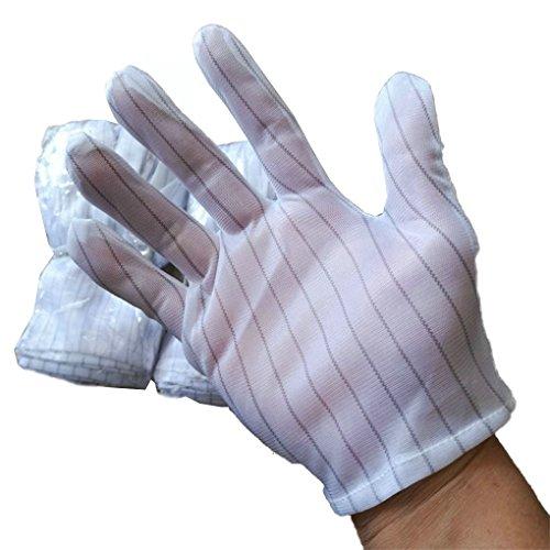 LUFA 5 Paar Weiße Streifen Antistatische Arbeitshandschuhe Anti-Rutsch-Elektrostatische Handschuhe für PC Computer Working Repairing Farm...