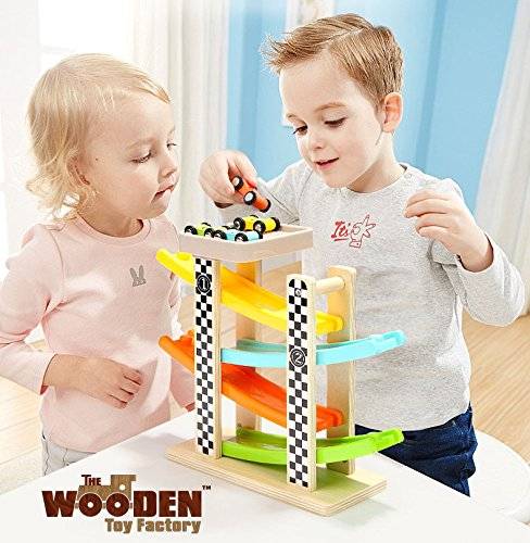 The Wooden Toy Factory - Click Clack Racing Track with *6* Cars - Includes Parking Lot - No Assembly Required