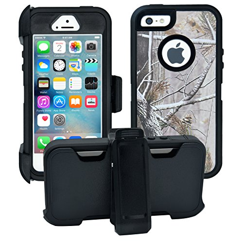 AlphaCell Cover Compatible with iPhone 5 / 5S / SE | 2-in-1 Screen Protector & Holster Case | Full Body Military Grade Protection with Carrying Belt Clip | Protective Drop-Proof Shock-Proof