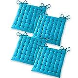 Gräfenstayn® 4er-Set Baumwoll-Sitzkissen 40x40x5cm mit Haltebändern für Indoor und Outdoor mit Öko-Tex Siegel - (Türkis)