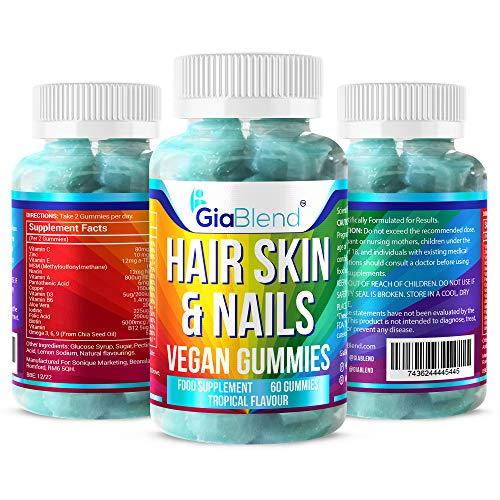 GiaBlend Hair, Skin & Nail Gummies - Longer Thicker Hair, Glowing Skin & Strong Nails with Biotin. Vegan & Gluten Free.