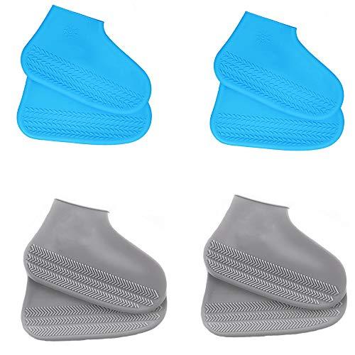LWZko 4 Paare wasserdichte Überschuhe, Silikon Überschuhe, Silikonüberschuhe rutschfest, Wasserdichtes Rutschfestes Silikon Überschuhe für Regen, Schneetag, Schlammige Straßen (Blau, Grau)