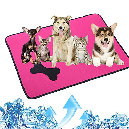 JYOKK Perros Caja Mat Manta Fria Alfombra Refrescante Perro Genial Cama del Perro Perro CojíN Tejido Impermeable Y Transpirable para Perros Gatos Y Otras Mascotas (Patrón óseo)