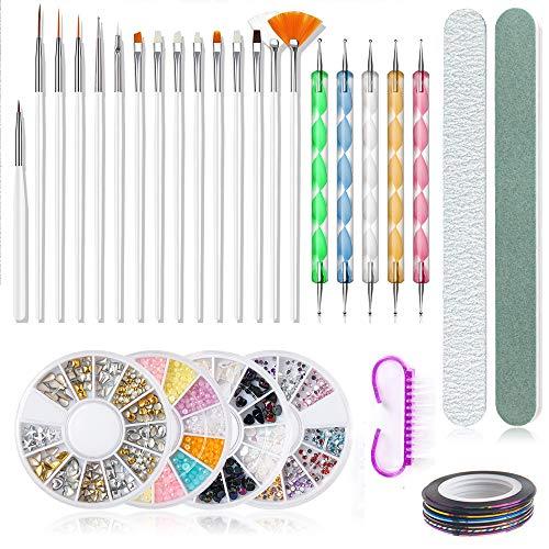 Vcedas Nail Art Supplies with 15PCS Nail Pen Set,5 pc 2 Way Dotting Pen Tool Nail Art Tip Dot Paint Manicure Kit,3D Gold Metal Nail Art,Nail Brush and File,Nail Striping Tapes for Nail Salon