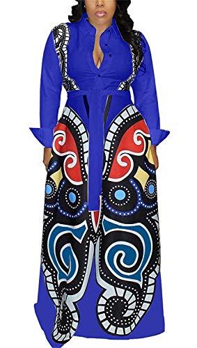 Aro Lora Women's African Print Long Sleeve Button Down Dashiki Maxi Dress Long Shirt Dress X-Large Blue