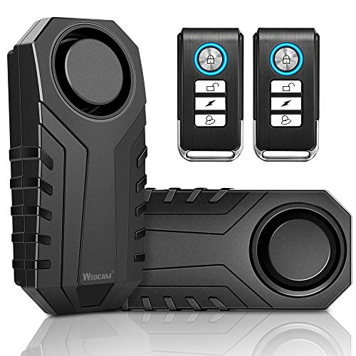 Wsdcam Bike Alarm with Remote 2 Pack, 113dB Wireless Anti-Theft Vibration Motorcycle Bicycle Alarm Waterproof Vehicle Security Alarm System