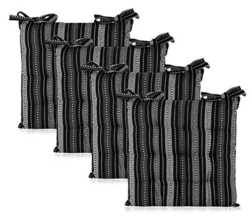 COTTON CRAFT - 4 Pack Salsa Stripes Chairpad -Black Grey - 17x17 Inches- Dining Chair Pad Cushion with Ties- Classic Design- Easy Fit to Chair