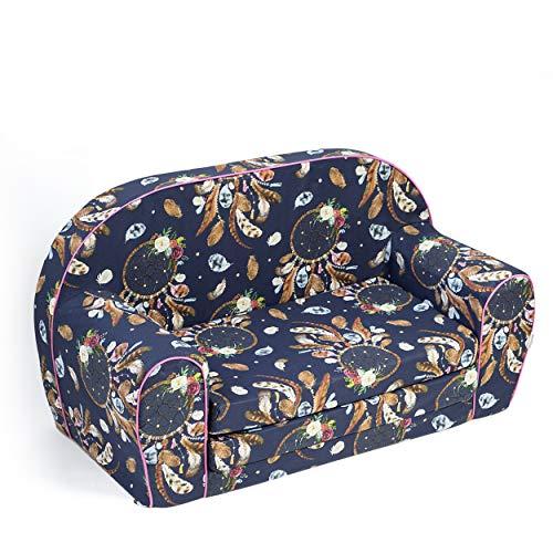 MuseHouse Kindersofa Kindercouch Kindersessel Sofa Bettfunktion Kindermöbel (Dunkel Blau)