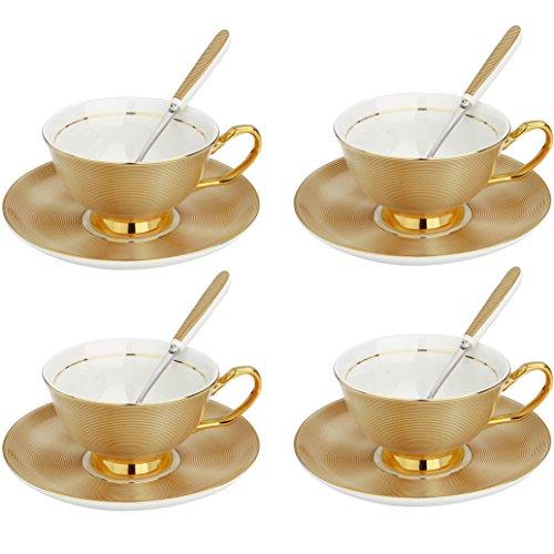 Artvigor, 12-teilig Porzellan Kaffeeservice Set, mit je 4 Kaffeetassen 200 ml, Untertassen, Löffel, Goldfarbe
