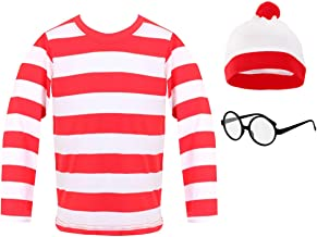 Boys Girls Red and White Striped Top Fancy Dress Kids Book Week Age 4-12 Years