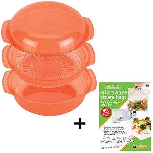 Spares2go-Plat de cuisson à vapeur pour four micro-ondes, 30 sacs de cuisson rapide