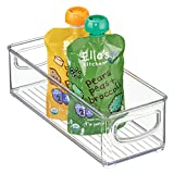 mDesign Kitchen Refrigerator Cabinet or Pantry Baby Food Storage Organizer Bin with Handles for Breast Milk, Pouches, Jars, Bottles, Formula, Juice Boxes - BPA Free, 10' x 4' x 3' - Clear