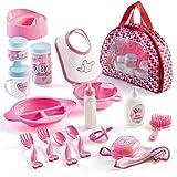 Prextex 18 Piece Mon Premier Baby Doll Accessory Set en étui zippé - Poupée d'alimentation Jouets, Mode et Accessoires de Bain pour bébés et Enfants en Bas âge
