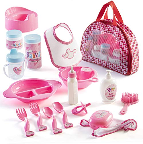 Prextex 18 Piece My First Baby Doll Accessories in Zippered Carrying Case - Doll Feeding Toys, Fashion and Bath Accessory Set for Babies and Toddlers