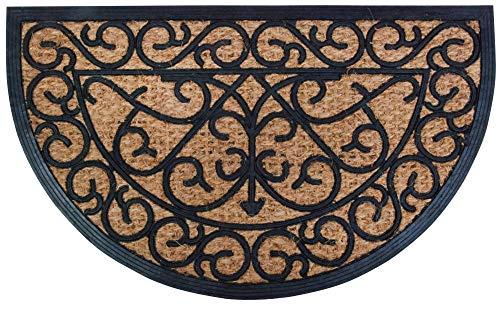 Esschert Design Gummifußmatte, halbrund mit Kokos, Türmatte, Türvorleger, Fußabstreifer, Maße ca. 75 x 45 cm