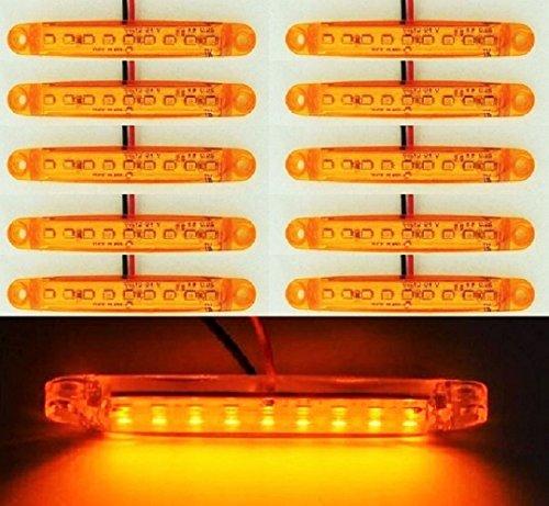 Lot de 10 feux d'encombrement latéraux 12 V 9 LED orange ambre pour camion, caravane, camping-car, bus, van