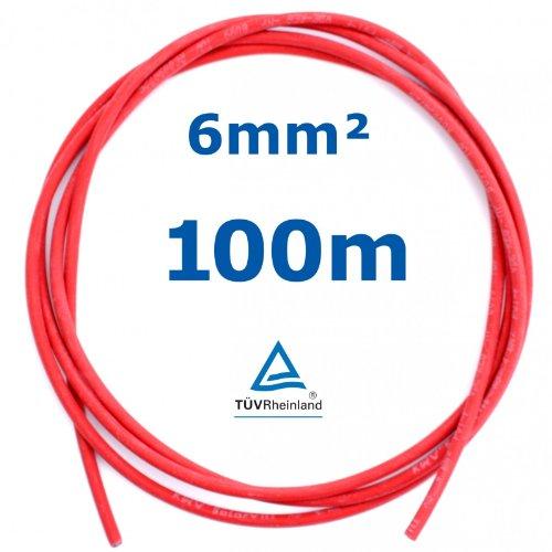 100 m Reiter-Solar SK6100 Solarkabel 6 mm - PV Verbindungs-Kabel 6 mm unkonfektioniert rot oder schwarz, Farbe:Rot