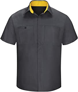 Red Kap Men's Short Sleeve Performance Plus Shop Shirt with OilBlok Technology, Charcoal with Yellow Mesh, X-Large