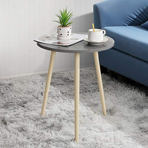Haton Side Table Small Round Grey Wooden End Tables with Tripod Stand Portable Versatile Nightstand Coffee Table for Living Room Bedroom Balcony and Office Easy Assemble (16.5 × 20.5 inches, Grey)