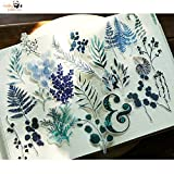 BLOUR 70 Piezas Yugali Plant Journal tornasol Etiqueta de Papel Vintage Retro Flor Transparente Pegatinas Diry Decor Scrapbooking