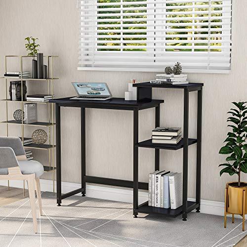 BHSHUXI Escritorio de ordenador con estante de almacenamiento de 3 niveles, moderno escritorio de estudio de escritura con espacio para impresora para espacios pequeños, oficina y estación de trabajo