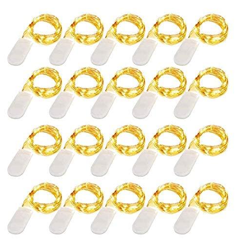 LED Lichterkette Batterie, 20 Stück Kupfer Drahtlichterkette Warmweiß 1M 10 LEDs Weihnachtsbeleuchtung für Innen und Aussen Dekoration [Energieklasse A+]