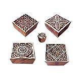Royal Kraft Tessuto Stampa Blocco Decorativo Piazza Floreale Forma Legno Timbri (Set di 5)