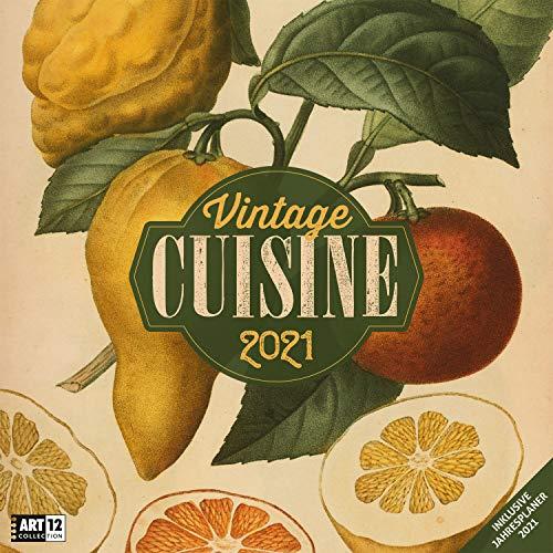 Vintage Cuisine 2021, Wandkalender / Broschürenkalender im Hochformat (aufgeklappt 30x60 cm) - Geschenk-Kalender mit Monatskalendarium zum Eintragen